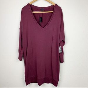 Express Burgundy Oversized V-neck Sweater Large